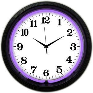 Horloge lumineuse murale neon deco violet - Art neon design