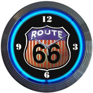 Horloge lumineuse murale neon deco Route 66 - Art neon design