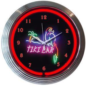 Horloge lumineuse murale neon deco Tiki Bar- Art neon design