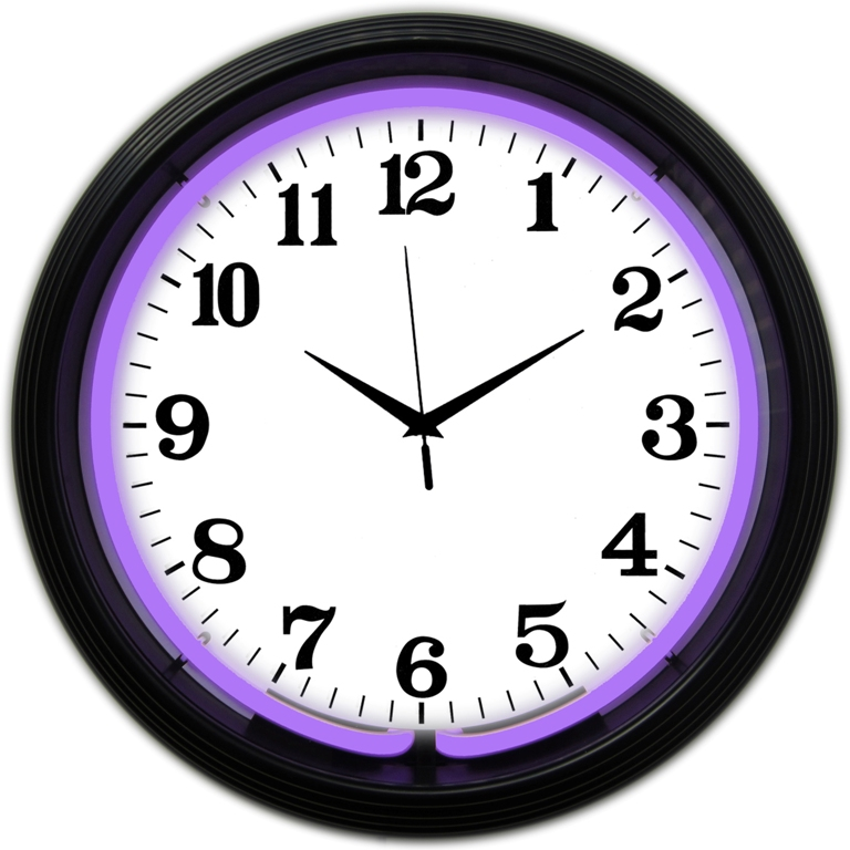 Horloge lumineuse violette