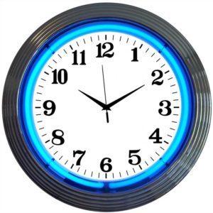 Horloge lumineuse murale neon bleue