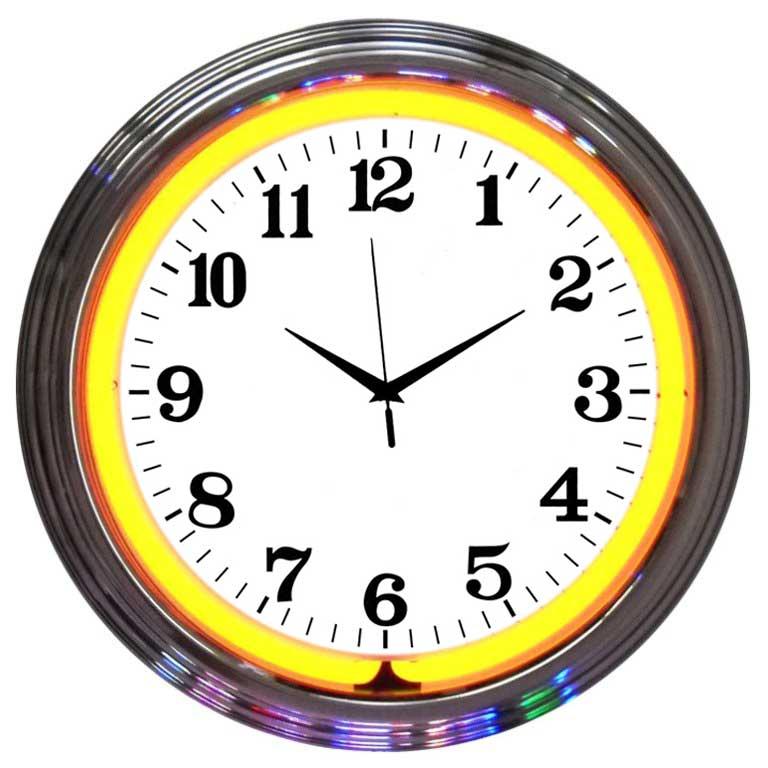 Horloge simple néon murale