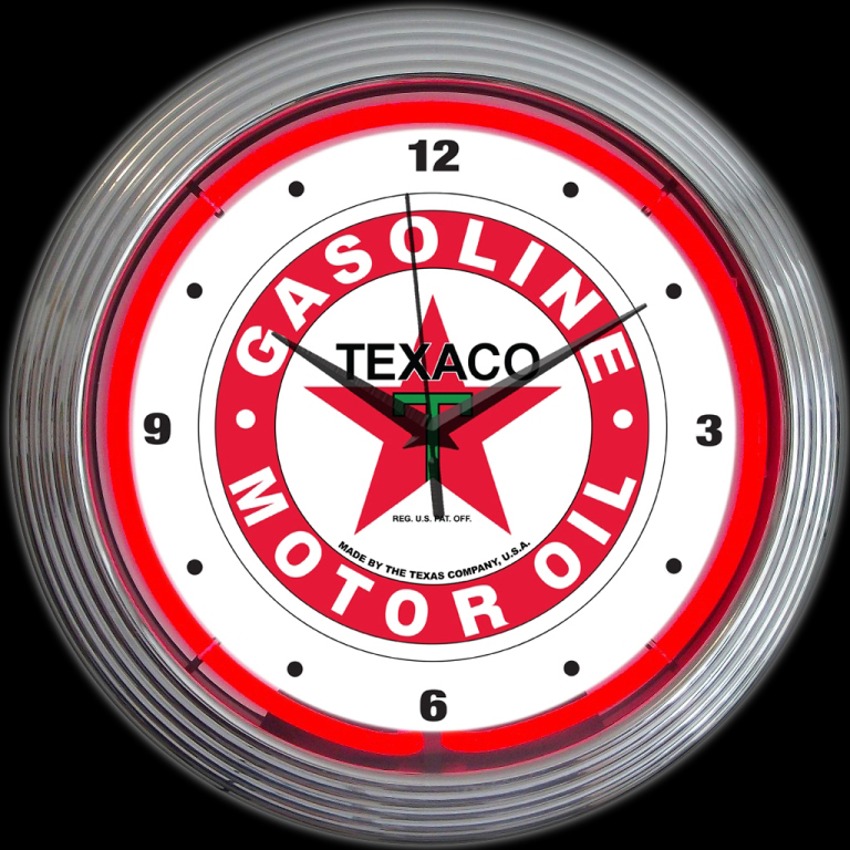 Horloge murale neon Texaco